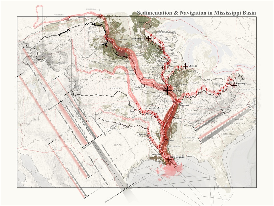 Layered map detailing sedimentation and navigation in the Mississippi River Basin