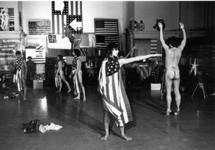 Trio A With Flags by Yvonne Rainer, 1970/2019