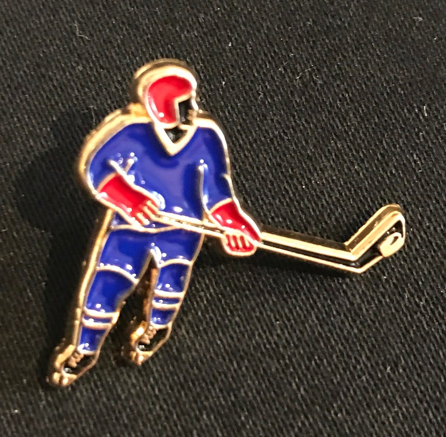 Black Hockey Player Pin