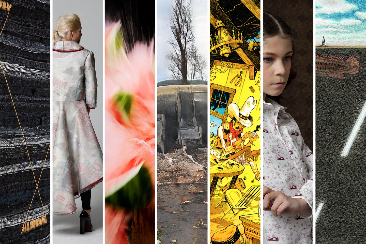 Seven images of work from the show, including fashion design and illustration.