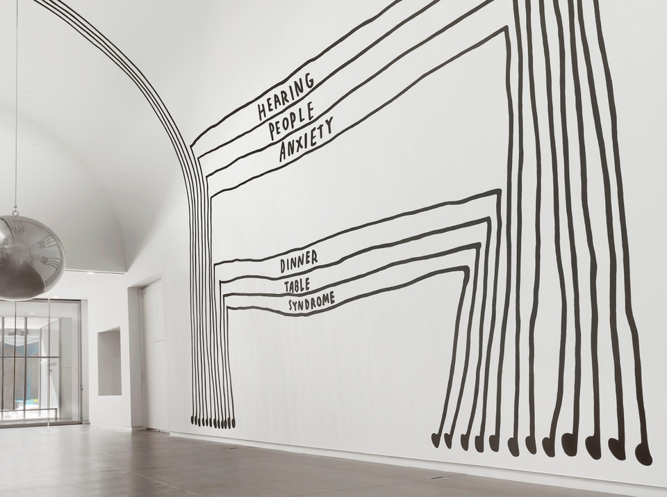 """Mural showing black lines for two large sets of stacked tables; the words """"Hearing/People/Anxiety"""" appear in rows for the top stack, and the words """"Dinner/Table/Syndrome"""" appear in rows for the bottom stack. The bottoms of the table legs are musical notes. To the left, a giant round, silver sclupture hangs from the ceiling."""