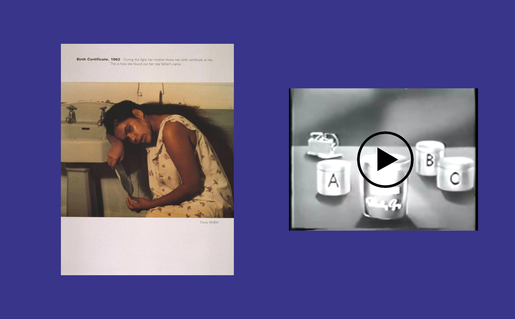 Two images side by side, one image is a color print of a dark-skinned woman seated in a bathroom resting her head and arm on the sink and holding a piece of paper, and the other image is a black and white film still of a drawing of cold cream cosmetic containers.