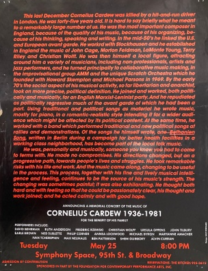 Benefit for the Family of Cornelius Cardew, May 25, 1982  [The Kitchen Posters]