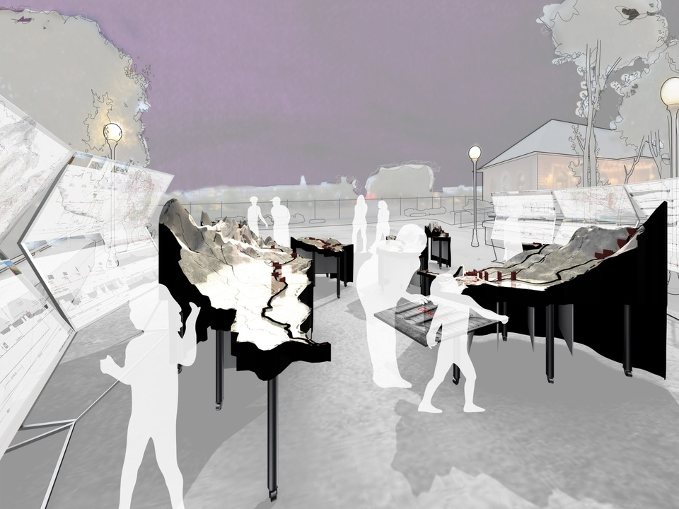 Conceptual rendering of an open-air installation, featuring design boards and models, with a path through the middle for people to walk through.
