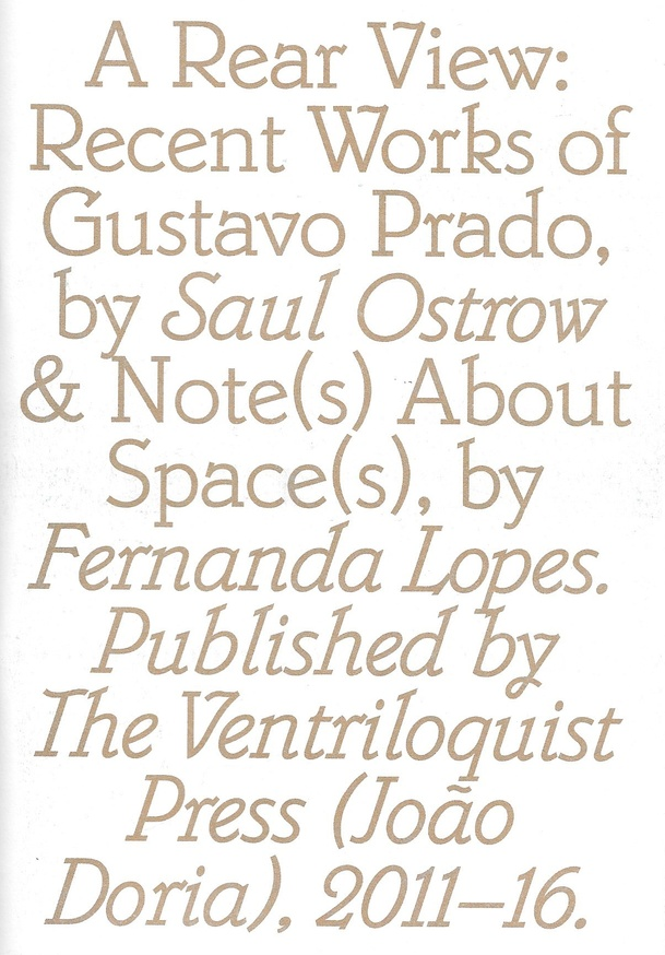 A Rear View: Recent Works of Gustavo Prado by Saul Ostrow & Note(s) About Space(s), by Fernanda Lopes