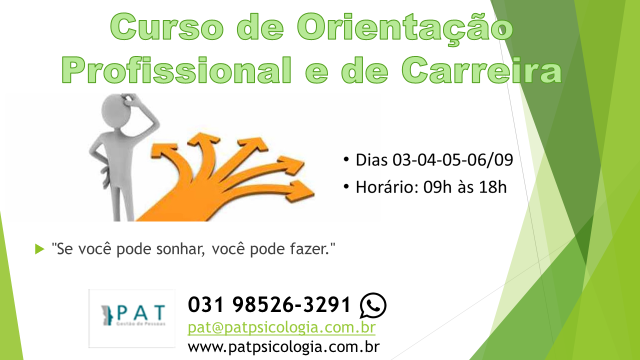 CURSO DE ORIENTAÇÃO PROFISSIONAL E DE CARREIRA