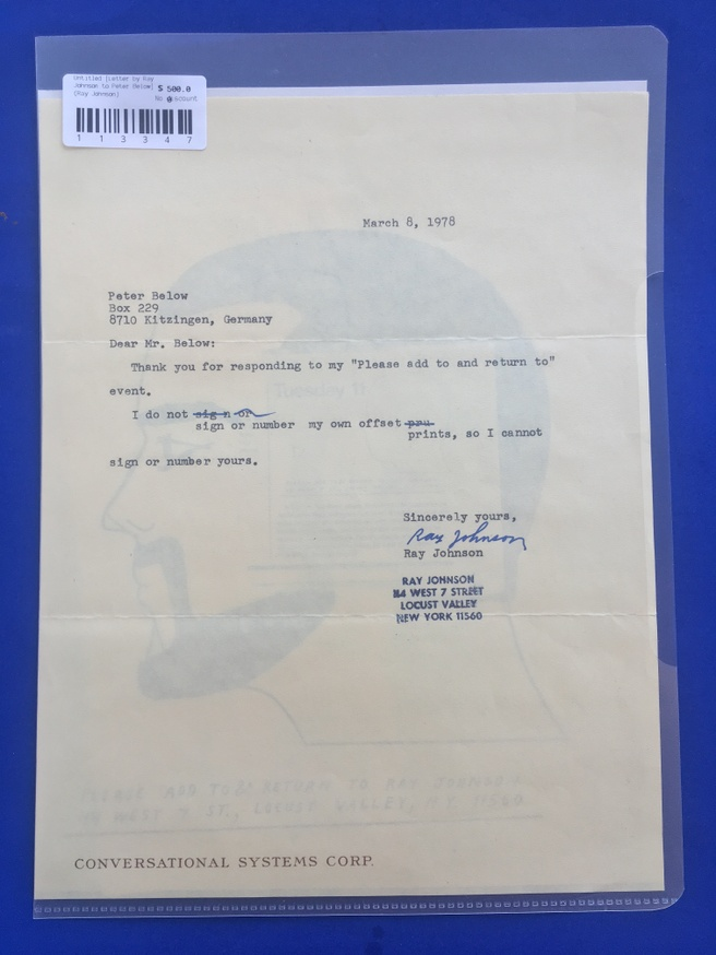Untitled [Letter by Ray Johnson to Peter Below] thumbnail 3