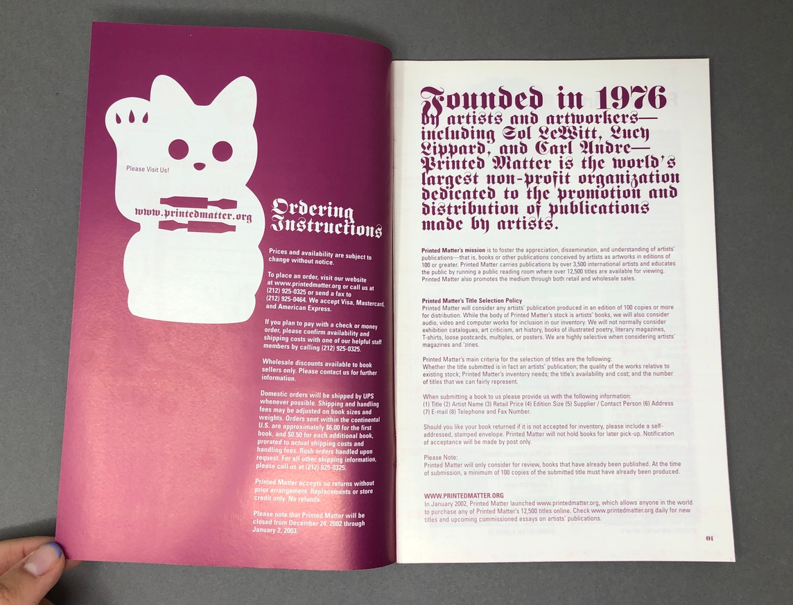 Printed Matter, Inc. Winter 2003 Catalog thumbnail 2