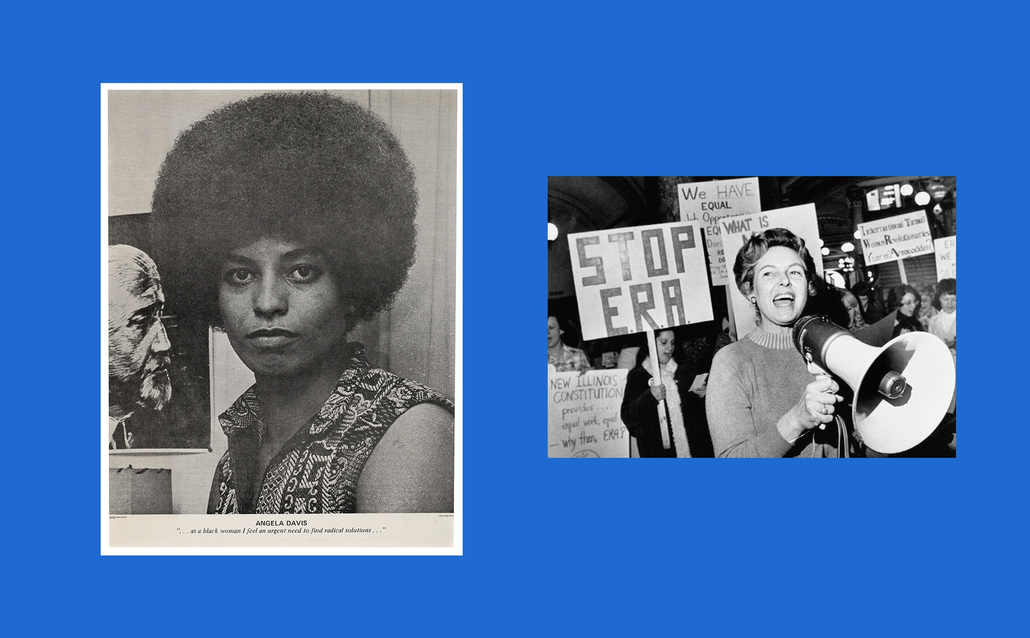Two images side by side, one image is a black and white photo portrait on newsprint paper of a dark-skinned woman looking directly at the camera, and the other image is a black and white photograph of a group of light-skinned women holding protest signs behind a light-skinned woman speaking into a megaphone.