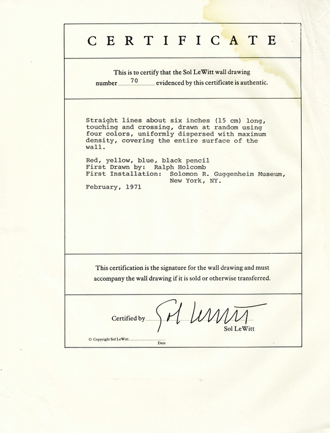 Sol Lewitt Sol Lewitt Wall Drawing 70 Photocopied Certificate And