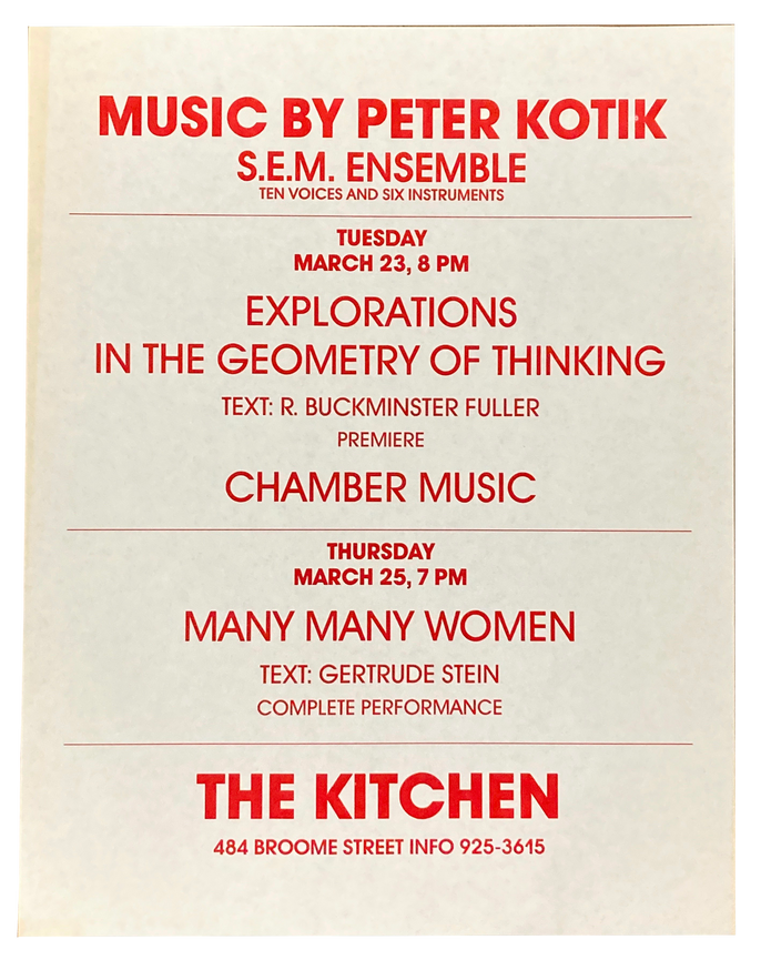 Explorations in the Geometry of Thinking, Chamber Music, Many Many Women, March 1982 [The Kitchen Posters]