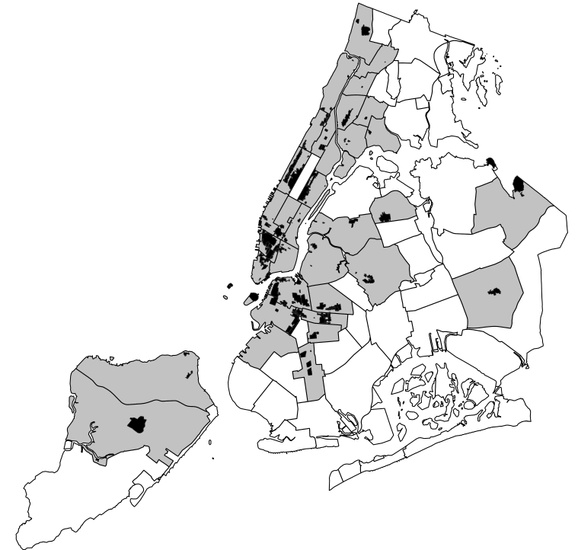 FIG. 1: Historic districts in New York City. Historic districts are shown in black, and their community districts in gray. Community districts in white have no tracts within historic districts.