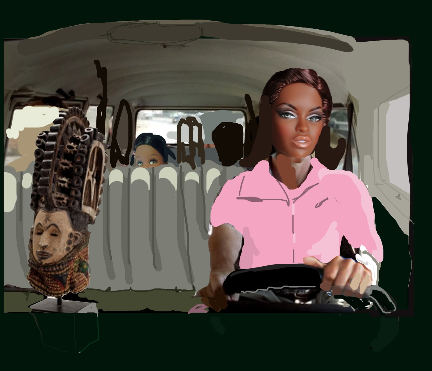 A person with a black doll head is facing forward in a driver seat with drawings covering their body and their surroundings, a doll and a sculpture pasted near them.