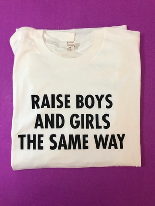 Raise Boys and Girls the Same Way (For Cowboys) T-Shirt [Black Text on White, Youth Large]