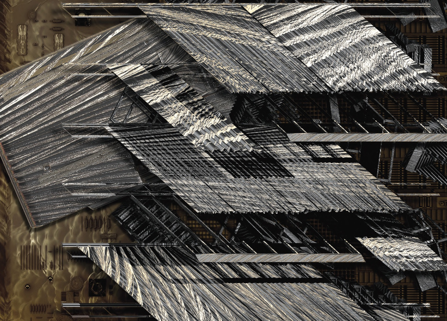 Detail view of a digitally rendered image of several silver-colored rectangles with textured surfaces, set against a pewter background.