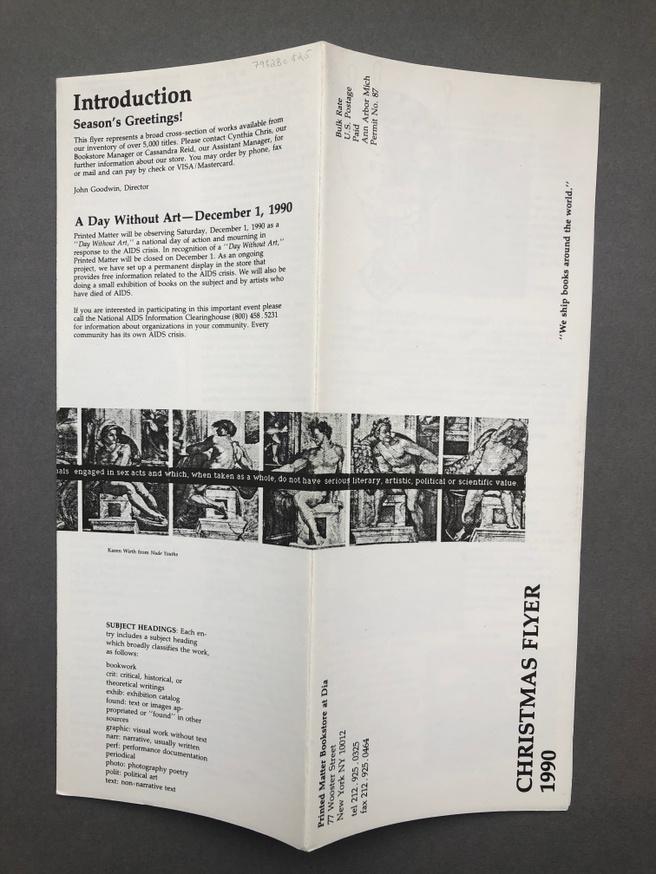 Printed Matter Christmas Flyer 1990 thumbnail 2