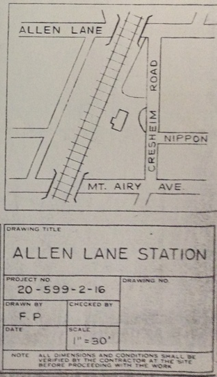 FIG. 6: Improvements planned in 1974 for Allen Lane Station—car and bicycle parking—as drawn by City of Philadelphia engineers, based on site designs by Uekland and Junker Architects and Planners and traffic plans by Wilbur Smith and Associates. Image courtesy of the Philadelphia City Archives.
