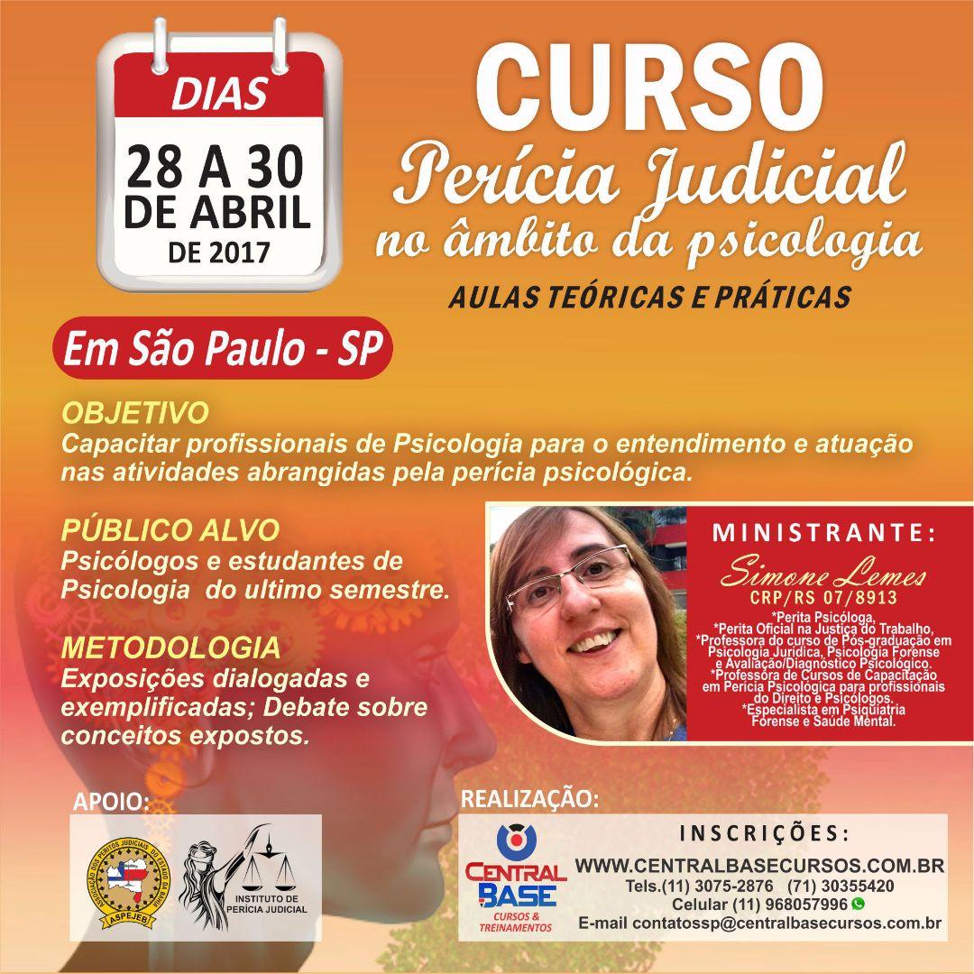 CURSO DE PERICIA JUDICIAL NO ÂMBITO DA PSICOLOGIA em São Paulo