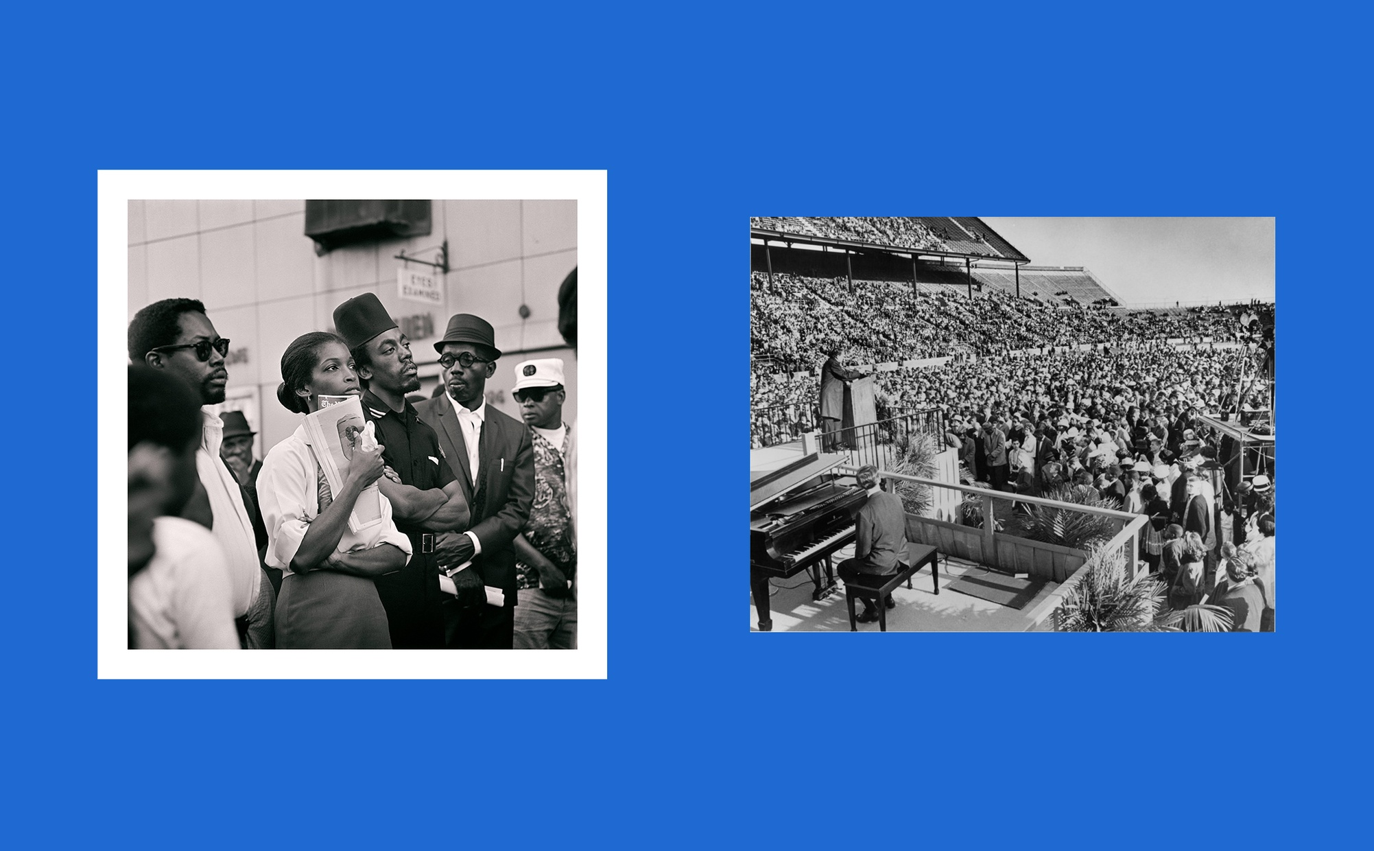 Two images side by side, one image is a black and white photograph of a group of seven dark-skinned people looking in different directions, and the other image is a black and white photograph of a stadium full of people with a light-skinned man sitting at a piano and an another light-skinned man at a podium on stage.