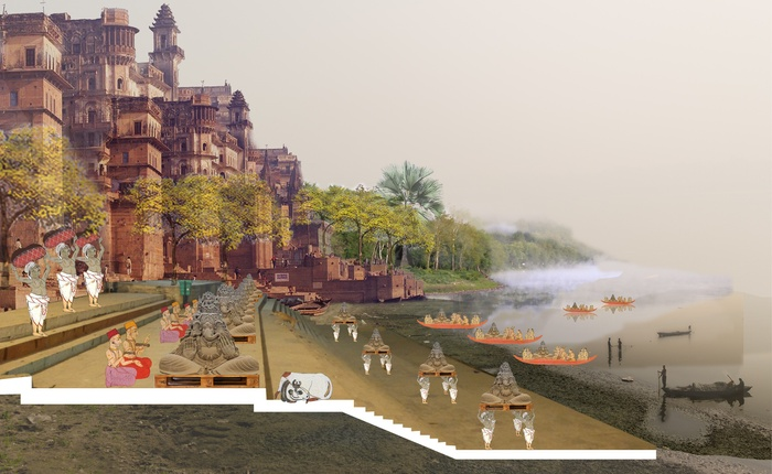 1_Perspective View of a Ghat Where Soil Ritual is Performed in Order to Gather Fertile Alluvial Sediments and Sculpt them Over Movable Platforms to be Carried to Nurseries at Kunds.jpg