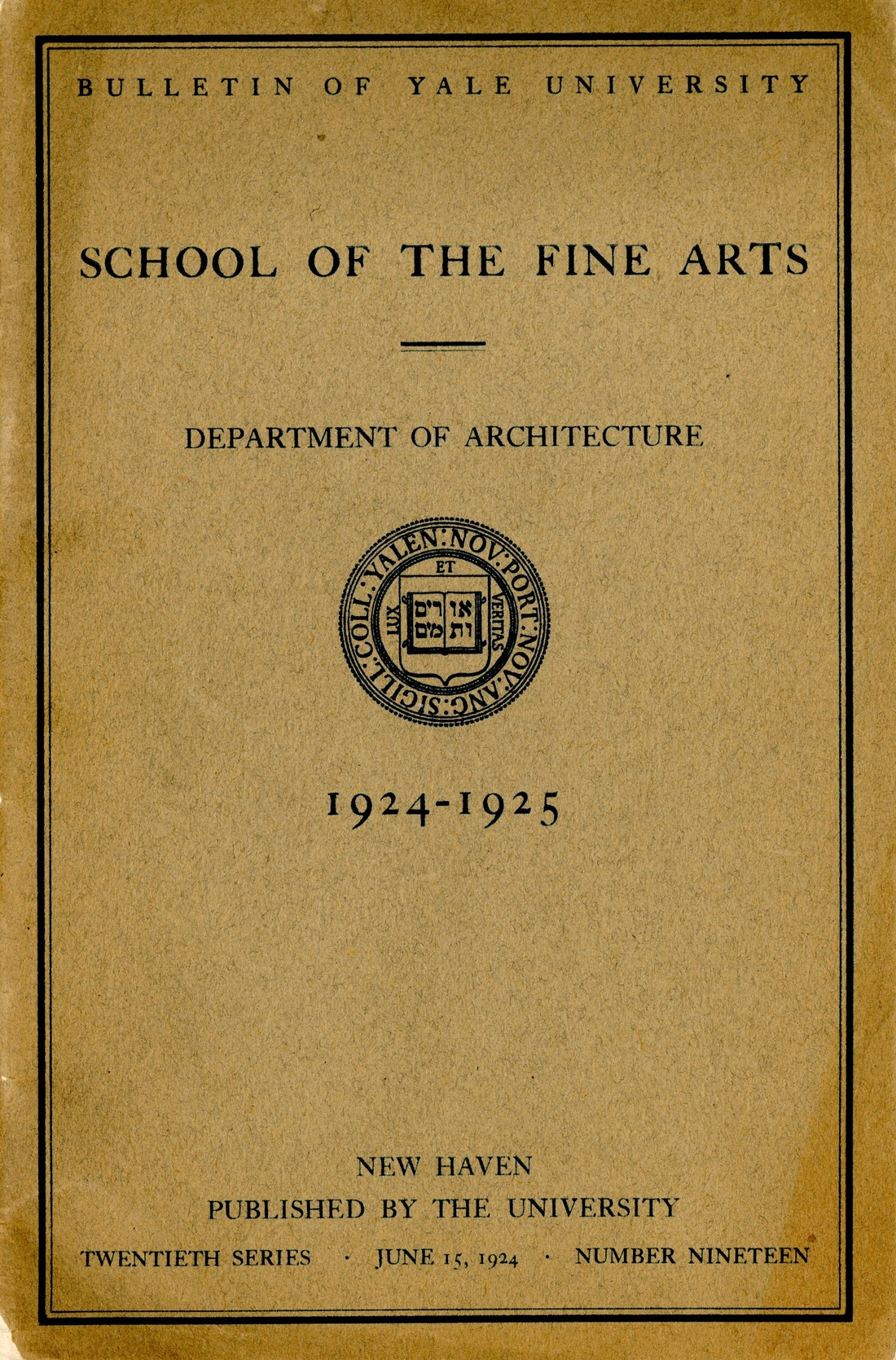Department of Architecture Bulletin from 1924