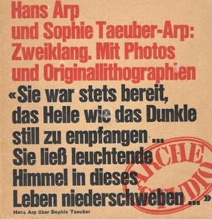 Hans Arp und Sophie Taeuber-Arp: Zweiklang. Mit Photos und Originallithographien
