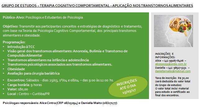 GRUPO DE ESTUDOS - APLICAÇÃO DA TCC NOS TRANSTORNOS ALIMENTARES