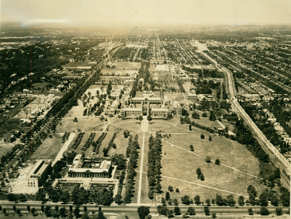 Black and white aerial photograph of the Washington University campus.