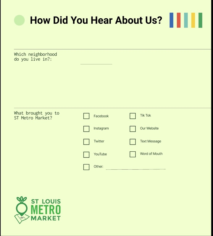An image of a feedback form for the St. Louis Metro Market asking questions of people who use the market.