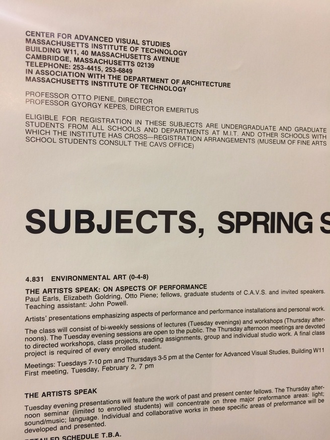 Center for Advanced Visual Studies : Subjects, Spring Semester, 1988 thumbnail 2