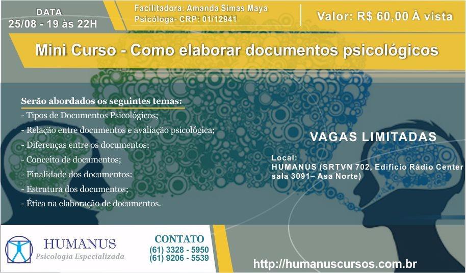 Mini Curso: Elaboracao de documentos psicologicos