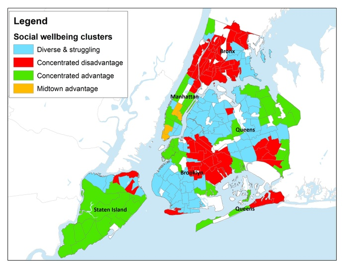 FIG. 1: Social well-being clusters, New York City. Map courtesy of Social Impact of the Arts Project.
