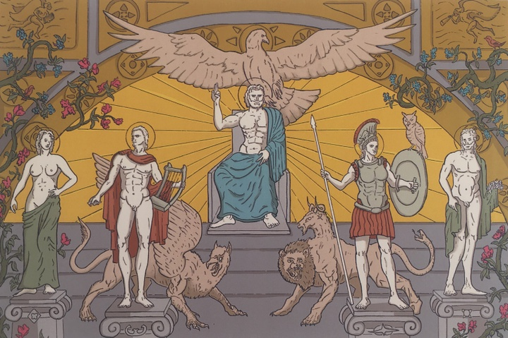 Illustration in the style of a classical Roman mural depicting marble statues on pedestals, griffins, and eagles.