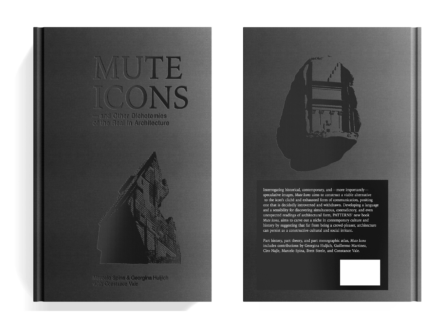 Two-panel image showing the front and back cover of Mute Icons, with a black embossed front cover.