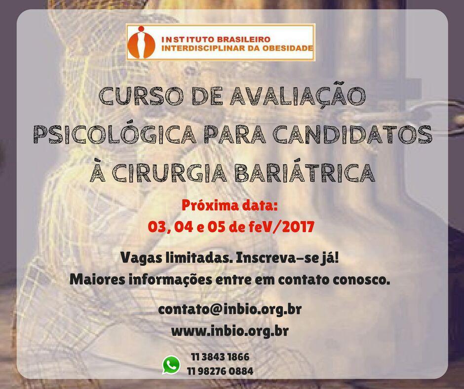 Curso:AVALIAÇÃO PSICOLÓGICA PACIENTE CANDIDATO À  CIRURGIA BARIÁTRICA