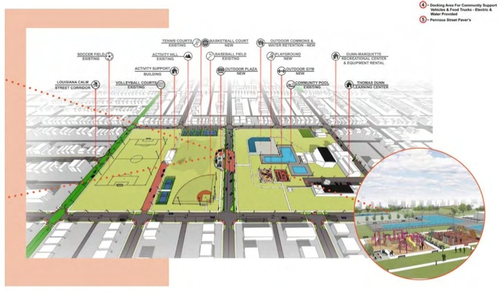 A plan illustrating parts of a park.