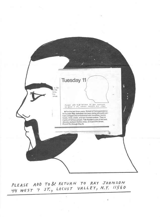 Untitled [Letter by Ray Johnson to Peter Below]