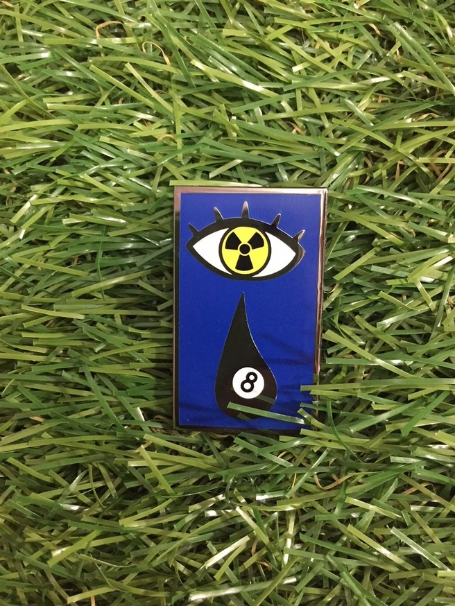 8Ball Nuclear Teardrop Enamel Pin thumbnail 1