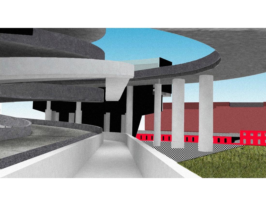 View of garage ramp