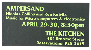 Memories, No Reflections: Music for Micro-computers and Electronics, April 29 & 30, 1980  [The Kitchen Posters]