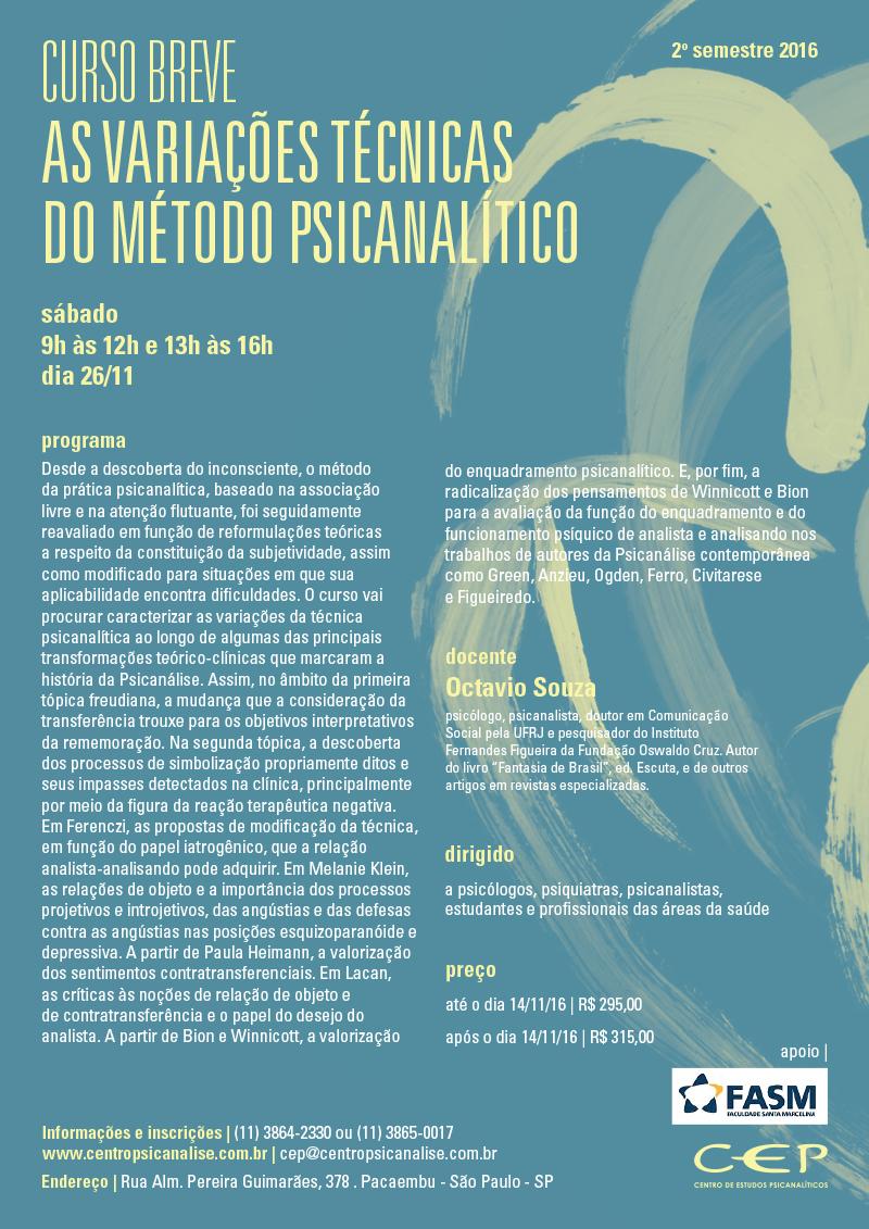 Curso Breve: As variações técnicas do método psicanalítico