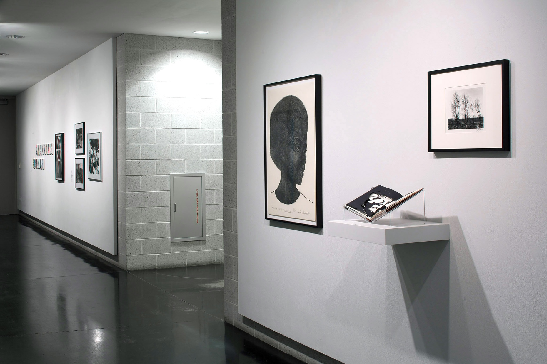Three black and white artworks hang on a white wall in a gallery; one picture depicts the profile of a black woman, one is a photograph of a landscape with trees, and one is an open book with silhouettes placed on it.