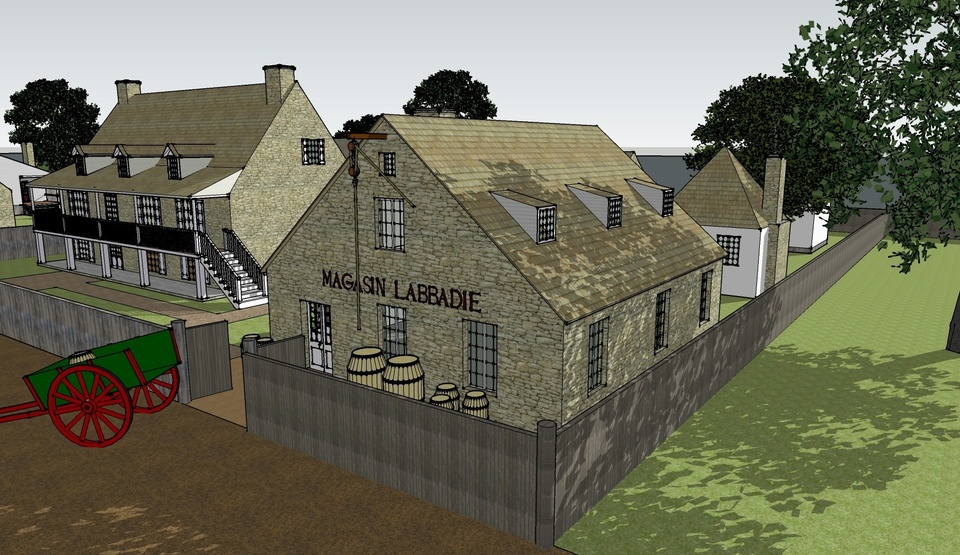 Sketchup render of a late 18th century St. Louis with an old bar 'Magasin Labaddie' with kegs outside the establishment. There is a wheeled cart on the left with a keg on it