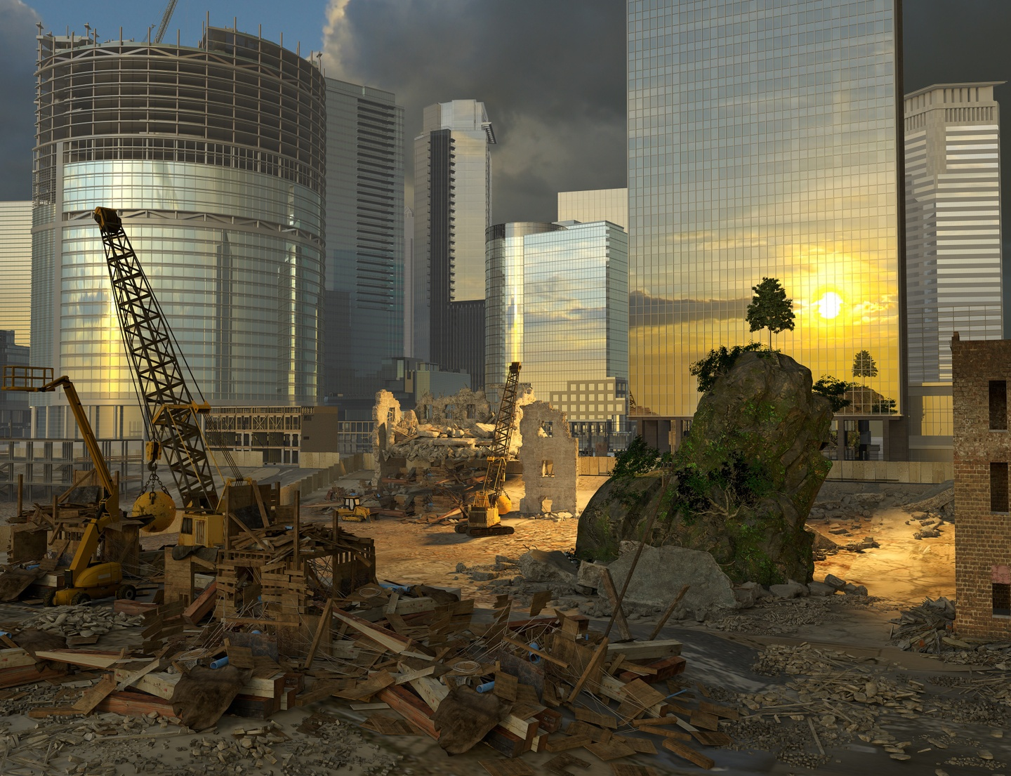Archival pigment print featuring rubble and construction in the foreground with a couple of cranes, and shining, silver buildings in the background, with the sun reflecting off the facade of one.