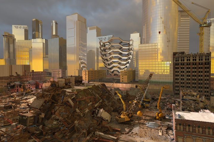 Glinting glass and metal skyscrapers tower above, surrounding a construction site with a heap of junk and scrap materials in the foreground. In the distance the Vessel (of Hudson Yards) is visible, reflecting the golden-slate sunset.