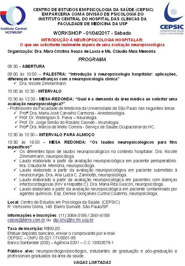Workshop - Introdução à Neuropsicologia Hospitalar