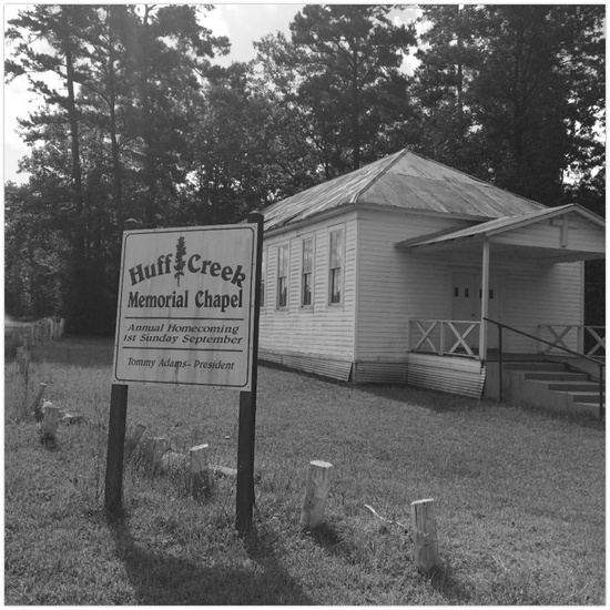 FIG. 4: Huff Creek Community, July 14, 2015. This photo was taken on a walking tour of Jasper County freedom colonies. The former Rosenwald School (now a chapel) is across from a community cemetery on Huff Creek Road, where James Byrd Jr. was murdered in 1998. Huff Creek Community once had an ample Black population, according to freedom colony descendants. Anglos and Latinos now sparsely populate it. Photograph by the author.