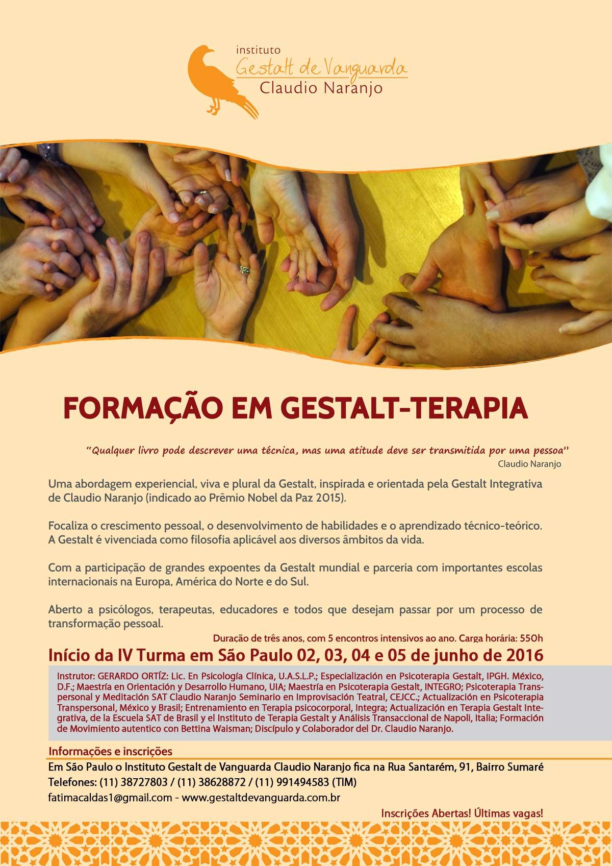 Formação em Gestalt Terapia Instituto gestlat de Vanguarda Claudio Naranjo-modulos iniciais