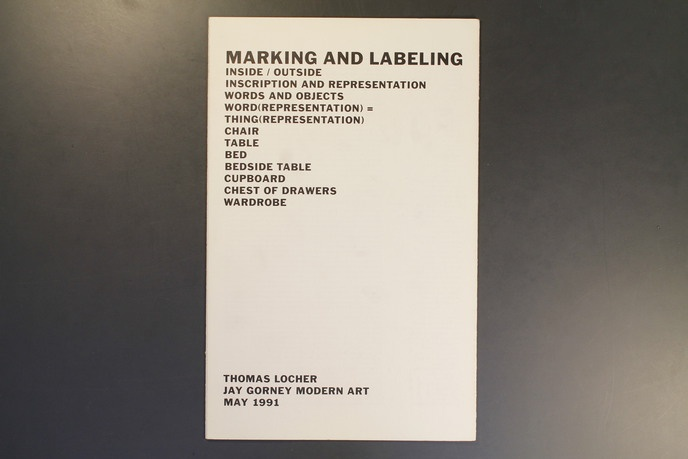 Thomas Locher - Marking and Labeling - Printed Matter