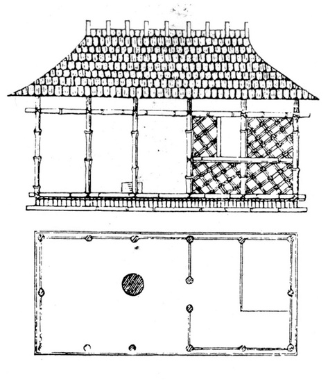 "Gottfried Semper, drawing of a Caribbean hut exemplifying the ""four elements"": structure and roof, podium, hearth, and infill wall, 1851."